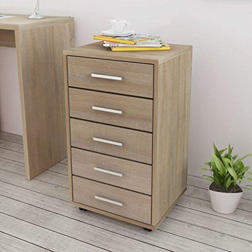 Tidyard Büroschubladenschrank auf Rollen 5 Schubladen Eiche Rollcontainer Bürocontainer Rollschrank Schubladenkommode für Schreibtisch, Büromöbel, Aktenschränke Eiche