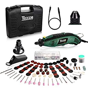 Mini Amoladora Eléctrica TECCPO, 170W Mini Taladro Herramienta Rotativa Multifunción con Drill Locator/Eje Flexible/Portabrocas Sin Llave/ 80 Accesorios para Manualidad para cortar, lijar, pulir