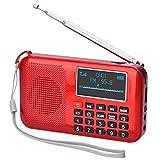 Songway - Altavoz de Radio FM portátil Recargable con energía Solar MP3, Temporizador de sueño, Linterna de Emergencia, Soporte para Tarjeta TF/USB, Conector para Auriculares (Rojo)