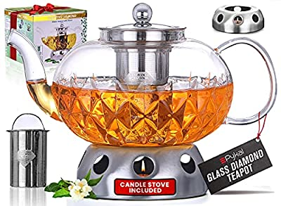 Glowing Diamond Glass Tea Pot 40 oz with Fine Mesh stainless steel loose leaf infuser. Keep your favorite tea blend warm with this teapot warmer included. Stovetop and Microwave compatible.