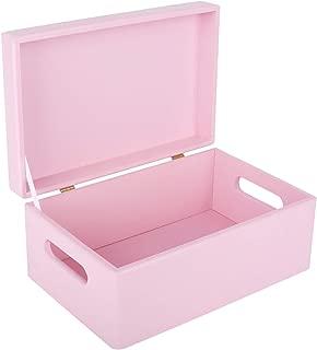 Creative Deco Rosa Grande Caja de Madera para Juguetes | 30 x 20 x 14 cm | con Tapa y Asas Cofre para Decorar Almacenaje de Documentos Objetos de Valor