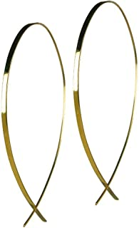 Large Upside Down Flat Hoop Gold Earrings