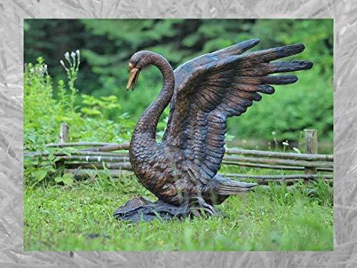 IDYL Escultura de bronce de cisne   90 x 85 x 60 cm   Figura de animal de bronce hecha a mano   Escultura de jardín o estanque   Artesanía de alta calidad   Resistente a la intemperie