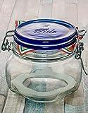 Bormioli Fido - Juego de 6 tarros con cierre de clip, 500 ml, cristal transparente, con cierre azul