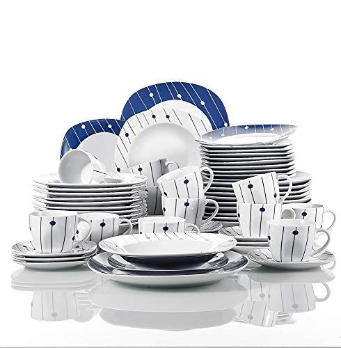 VEWEET Dot Piatti Servizio in Porcellana Stoviglie Set 60 Pezzi con 12 Tazze 175 ml, 12 Piattini, 12 Piatti, 12 Piatti Fondi e 12 Piatti da Dessert per 12 Persone