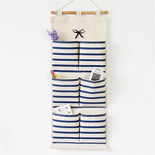 Qearly Naturel Housewares Sac De Rangement Suspendu Hanging Closet Organizer-Bleu