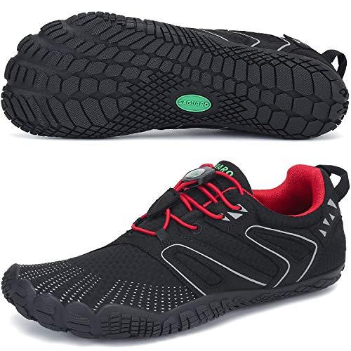 SAGUARO Barfußschuhe Damen Herren Indoor Outdoor Barfuß Traillaufschuhe Wanderschuhe rutschfest Kletterschuhe Leicht Fünf-Finger-Schuhe Strandschuhe(059 Rot, 46 EU)