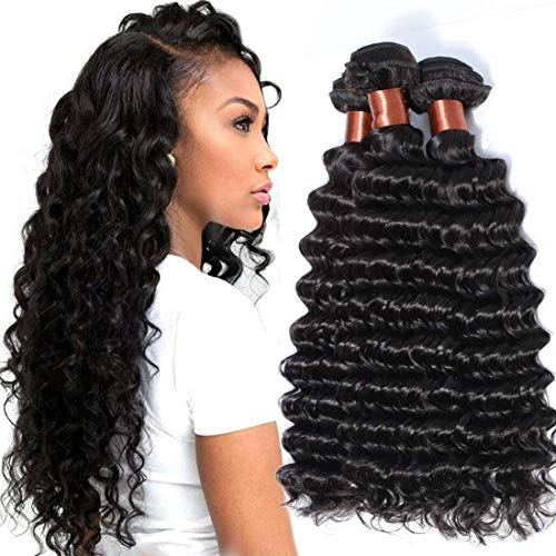 BLACKMOON HAIR(TM) Brazilian Hair Deep Wave 100% Unprocessed Virgin Human Hair Bundles Weaves...