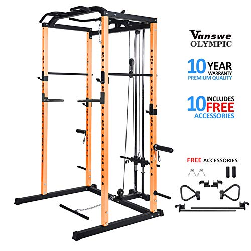 Fitness Power Rack Power Cage Home Gym Equipment Exercise Stand Olympic Squat Cage with LAT Pull Attachment, Multi-Grip Pull-up Bar and Dip Handle (Orange Cage)
