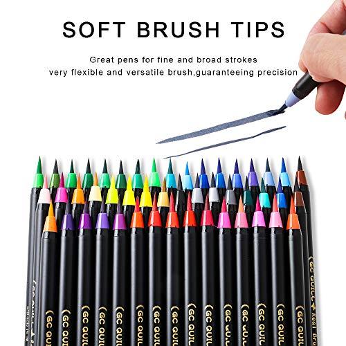 GCQuill Juego de 48 rotuladores de acuarela y 2 bolígrafos de agua, marcadores de pintura para caligrafía, colorear, dibujar, escribir pinceles