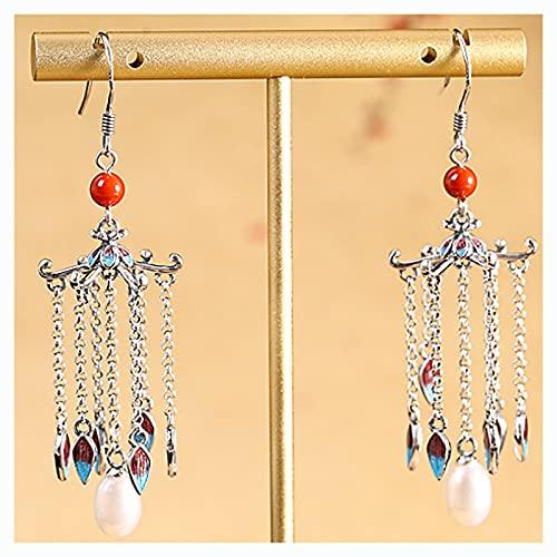 CHXISHOP Pendientes de Plata esterlina de 925, Pendientes de Borla de Perlas, cumpleaños para Damas, Ella y Las Novias