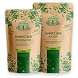 Azúcar SweetCare el cristal y polvos en el paquete de ventaja la sustitución de azúcar con Erythritol y Stevia, la alternativa natural azúcar sin calorías