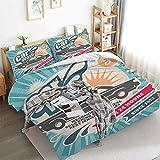 Aishare Store - Juego de funda de edredón retro para reparación de coches, diseño clásico, 3 piezas decorativas con 2 fundas de almohada, doble (172,7 x 228,6 cm), multicolor
