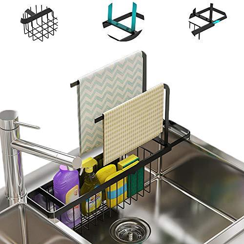 Telescopic Sink Storage Rack Holder Kitchen Rack Sink Organizer Sink Storage Rack Expandable Sink Basket Drying Organizer Carbon Steel Design Sponge Holder Towel Rack for Home Kitchen Black