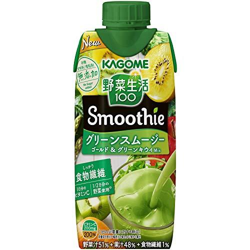 カゴメ 野菜生活100 Smoothie グリーンスムージー ゴールド&グリーンキウイMix 330ml×12本