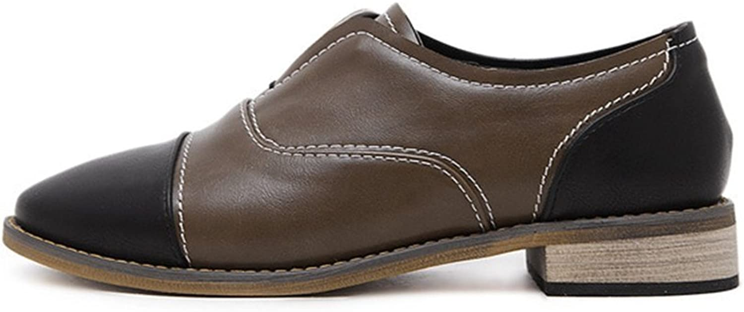 T-JULY Women's Retro Oxfords shoes - Classic Low Heel Two Tone Casual shoes