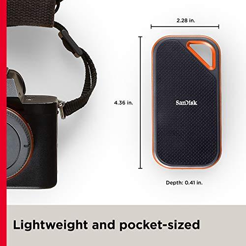 SanDisk Extreme PRO NVMe SSD 1 TB (tragbare NVMe SSD, USB-C, bis zu 2.000MB/s, robust und wasserbeständig, Karabinerhaken)