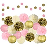 EpiqueOne 22 Pcs Mixed Pink, Gold & Ivory Party Decorations By Epique Occasions–Set Of Hanging Tissue Paper Flower Pom Poms, Lanterns & Honeycomb Balls For Girl Birthday Wedding & Party Décor Supplies