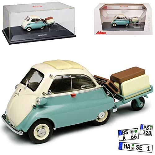 B-M-W Isetta mit Anhänger Auto Porter Grün Grau 1955-1962 1/43 Schuco Modell Auto Modell Auto