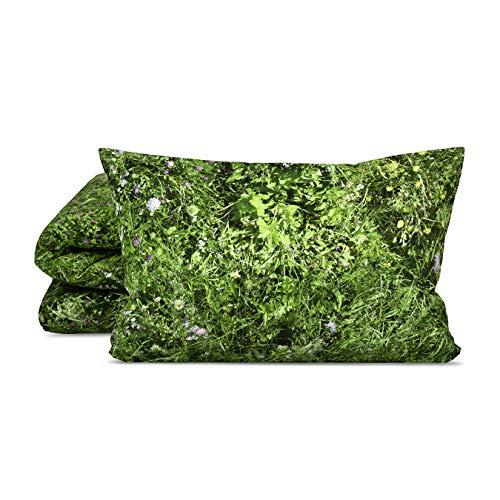 FOONKA HAYKA Almwiese, 1-TLG. Baumwollsatin Bettwäsche – 135x200 cm (80x80 cm), Cotton, Gras, Grün, 2
