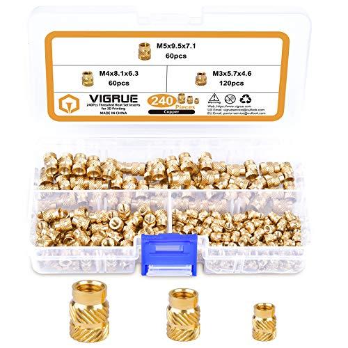 240Stk Gewindeeinsatz, VIGRUE M3 M4 M5 Einpressmutter Messing Gewindebuchsen Innengewinde Rändelmuttern Einbettung Muttern für Kunststoffteiledurch Wärme oder Ultraschall in 3D-Drucker Teile