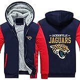 Sweat À Capuche NFL De Football Américain Jacksonville Jaguars Jersey Pull Plus Velvet Rugby T-Shirt À Manches Longues Imprimer Capuche Décontracté Et Confortable Gros Pull,D,4XL