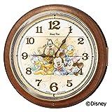 セイコー クロック 掛け時計 ミッキーマウス ミニーマウス 電波 アナログ からくり 6曲 メロディ ミッキー&フレンズ Disney Time ディズニータイム 茶 マーブル 模様 FW587B SEIKO