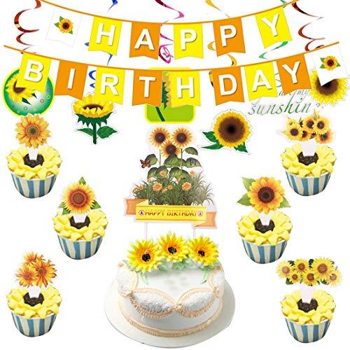 Kit de accesorios para decoración de fiesta de cumpleaños de girasol para niñas Mujeres Flores artificiales de girasol Guirnalda de decoración para tarta para Baby Shower de girasol