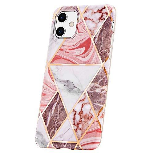 QULT Handyh?lle kompatibel mit iPhone 11 H?lle Marmor Rosa d?nn Silikon Schutzh?lle TPU Bumper Case f?r iPhone 11 Glitzer Triangle Pink Marble