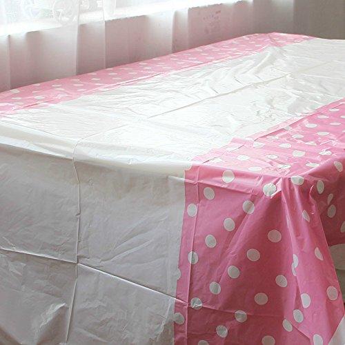 Wuyue Hua Plastique jetables nappes rectangulaire nappes 106,7 x 177,8 cm Violet à Pois 180 cmx108 cm, Rose, 8 Pack