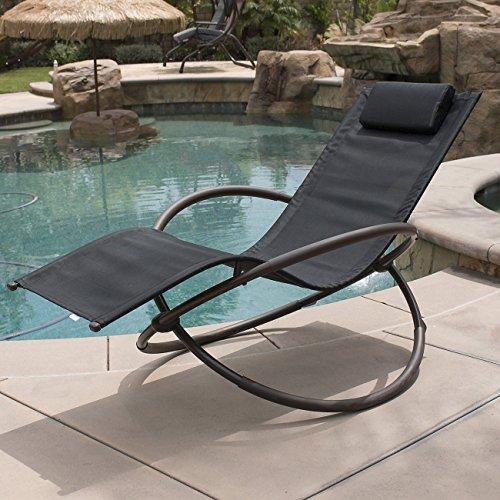 BELLEZE Zero Gravity Orbital Lounger Rocking Chair Outdoor Patio Yard Furniture, (Black)