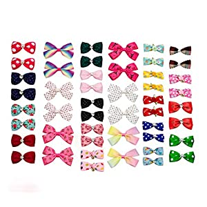 PET SHOW 20Pairs Dog Hair Bows with Rubber Band 2,3,4 inch Big Dog Hair Bows with Rhinestone Flowers Bowknot Topknot for Small Medium Large Dogs Cats Rabbits Girl Boy Pink Blue Grooming Accessories
