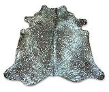 Zerimar Alfombra Piel de Vaca Natural Color: Metalizado Azul | Medidas: 255x230 cm 4.48 m² | Alfombra Salón | Alfombra Decoracion | Alfombra Dormitorio | Alfombra Natural