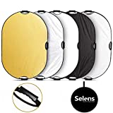 Selens 5-IN-1 撮影用 楕円レフ板 ハンドル付き スタジオレフ板 折りたたみ可能 80x120cm (1枚で5色対応-金/銀/白/黒/半透明) [並行輸入品]