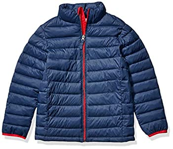 Amazon Essentials Toddler Boys Light-Weight Water-Resistant Packable Puffer Jackets Coats Navy/Red 3T