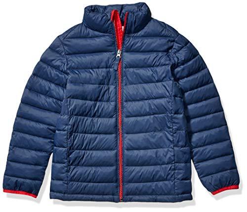 Amazon Essentials Boys' Lightweight Water-Resistant Packable Puffer Jacket outerwear-jackets, Azul Marino con Rojo, Medium