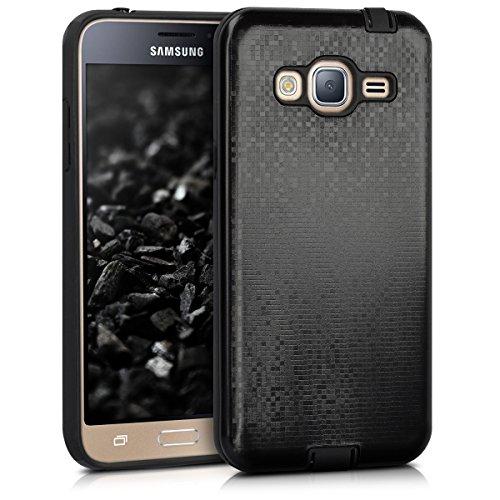 kwmobile Hülle kompatibel mit Samsung Galaxy J3 (2016) DUOS - Hybrid Handy Cover Handyhülle Hülle Schutzhülle Hybrid Muster Anthrazit Schwarz