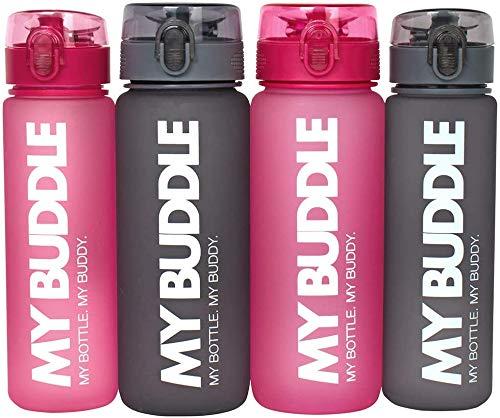 My Buddle Wasserflasche Sport 500 und 750 ml, grau/pink - Trinkflasche Kinder - Trinkflasche wasserdicht Kinder - Ideale Wasserflasche wiederverwendbar (Grau, 500 ml)