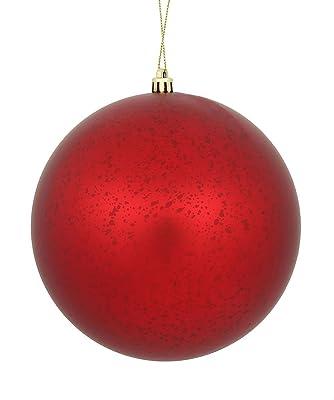 "Vickerman Ball Ornament, 4"", Red"