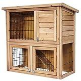 EUGAD Conejera de Exterior Madera Gallinero Grandes Casa para Conejos Cobayas Hámster Mascotas Jaulas Grandes para Conejo Animales Pequeños Impermeable 2 Niveles, 3 Puertas L91 * B45 * H87 cm 0040HT