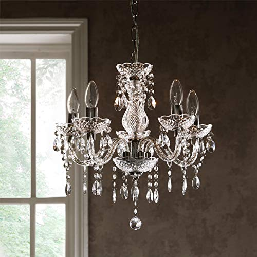 CGC - Lámpara de techo de acrílico transparente con cinco brazos, cromado