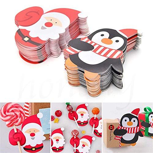 BLOUR 50 Stück Weihnachtspapier Schokolade Lutscher Sticks Cake Pops Xmas Decor Party Schulbedarf Briefpapier Weihnachtsaufkleber Geschenke