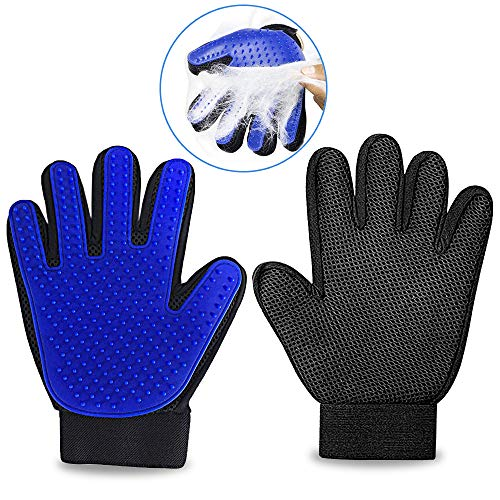 Silicone Pet Grooming Gloves - Deshedding, Brushing, Cleaning Mitt - Fur, Hair, Dirt, and Dander Remover for Dogs, Cats, Horses and Rabbits - 260 Soft Bristle Tips, Adjustable Wrist Strap, 1-Pair