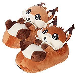 corimori 1847 (10+ Designs) Fox Faye Cute Plush 3D Animal Shaped Slippers, Funny Lounge Shoes, Womens Sizes 4-13