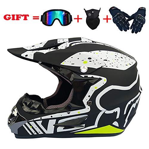 Helmet Motocross Niños Adultos Motocicleta Casco Hombres Set con Gafas Guantes Máscara Cara Completa Bicicleta Casco Off Road Crash ATV MTB