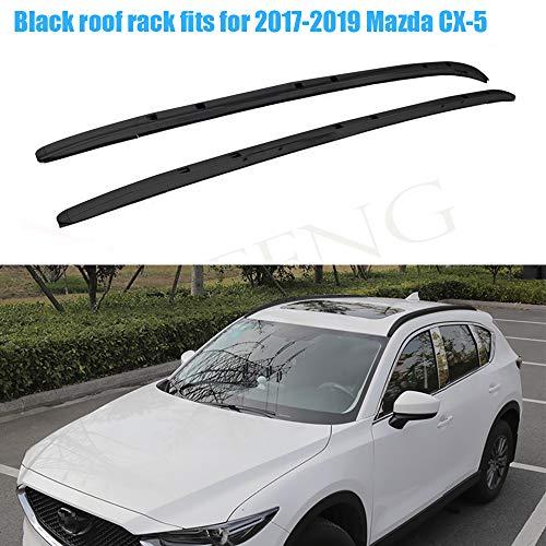 LAFENG Baca negra para techo 2017-2019 Mazda CX-5 2 piezas de aleación de aluminio portaequipajes portaequipajes rieles de techo