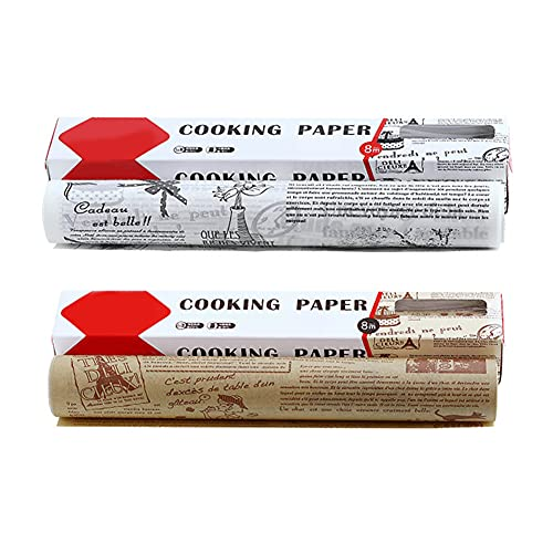 High Temperature Resistant, Waterproof And Greaseproof Baking Paper,Non-Stick Baking Paper Roll for Cooking, Grilling, Steaming and Air Fryer (Brown and White,30cm x 8m)