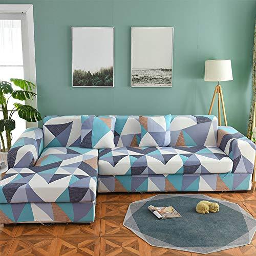 ASCV Juego de Fundas de sofá Funda de sofá geométrica Funda de sofá elástica para Sala de Estar Esquina de Mascotas en Forma de L Chaise Longue Funda de sofá A9 1 Plaza