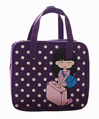 Cartoon Violet Lunch Tote Bag Réutilisable Lunch Box Bag For Kids / Etudiants