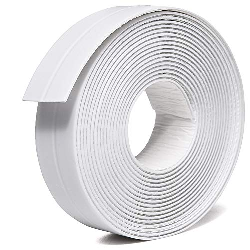 TYLife PE Caulk Tape Strip,Self-Adhesive Tub Caulking Sealing Tape for Kitchen Sink Toilet Bathroom Shower and Bathtub Floor Wall Edge Protector-8/9' x 11' (White-1Pack)